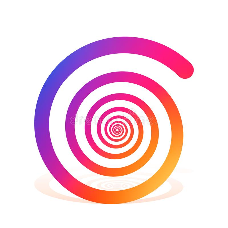Arcobaleno a spirale di colore sui precedenti bianchi illustrazione di stock