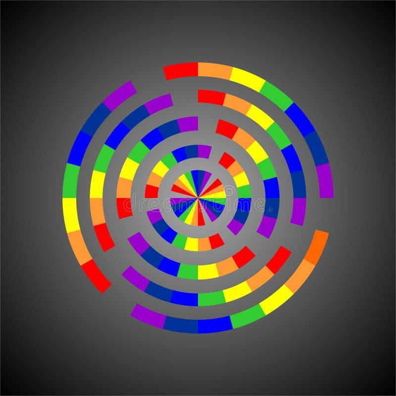 Arcobaleno su progettazione di vettore della ruota illustrazione di stock