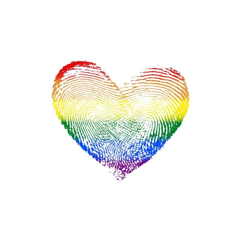 Arcobaleno V del cuore dell'impronta digitale fotografia stock