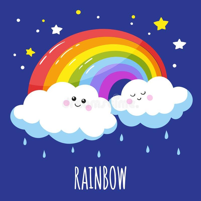 Arcobaleno variopinto e due nuvole sveglie in uno stile del fumetto illustrazione di stock