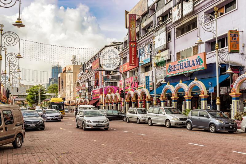 Arcos coloridos na rua em Kuala Lumpur Little India fotos de stock royalty free