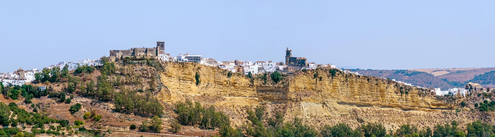 Arcos de la Frontera panoramic view. Panoramic view of Arcos de la frontera, typical town of white towns in Cadiz province, Andalusia, Spain stock photography