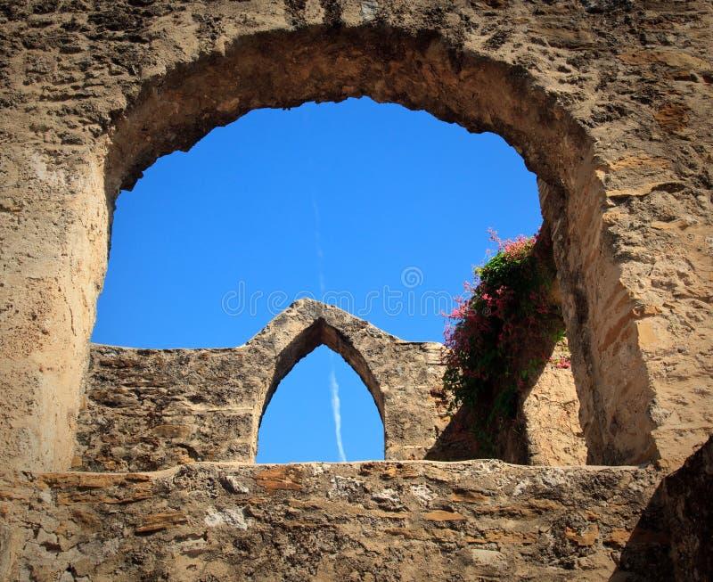 Arcos de la misión de San Juan en Tejas fotografía de archivo