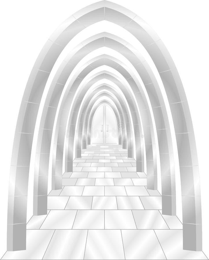 Arcos de piedra con la puerta fotografía de archivo