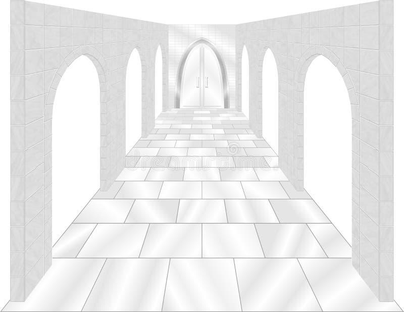 Arcos de piedra con la puerta imagenes de archivo