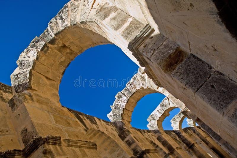 Arcos del EL Djem, Túnez foto de archivo