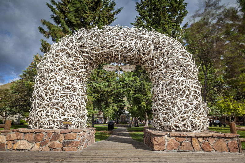 Arcos do chifre dos alces em Jackson Town Square, Wyoming fotografia de stock royalty free