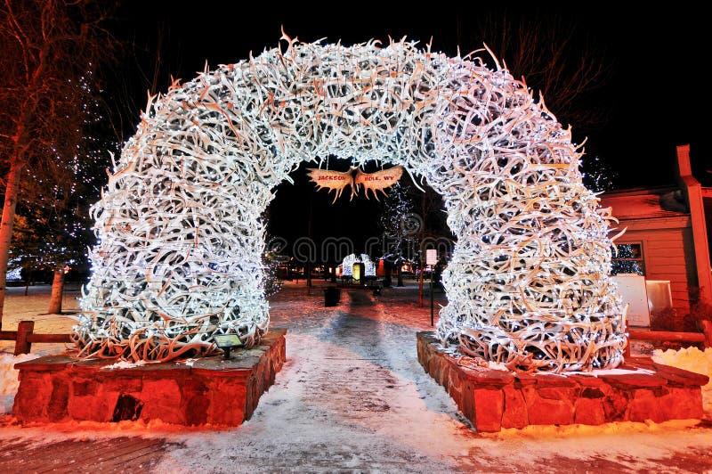 Arcos do chifre em Jackson Hole fotos de stock royalty free