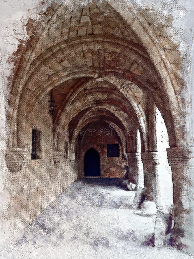 Arcos e ornamento mediterrâneos antigos imagem de stock royalty free