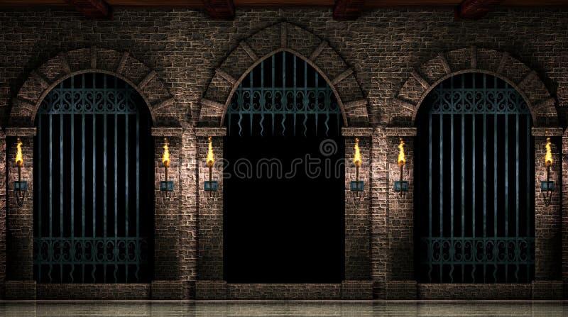 Arcos e porta aberta do ferro ilustração stock