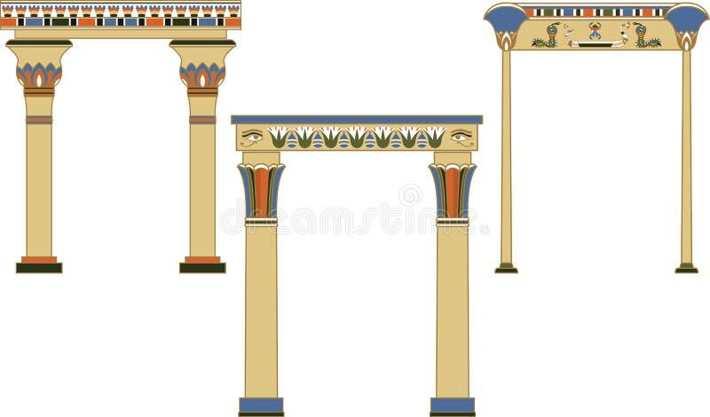 Arcos egípcios antigos ajustados ilustração do vetor
