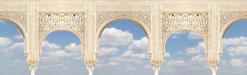 Arcos no estilo (mouro) islâmico em Alhambra, Granada, Espanha imagem de stock royalty free