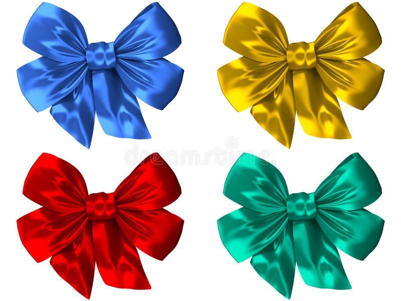4 arcs colorés différents de soie de satin photos stock