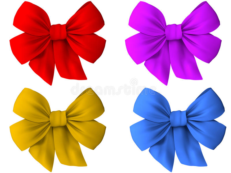 4 arcs colorés différents de tissu photos stock