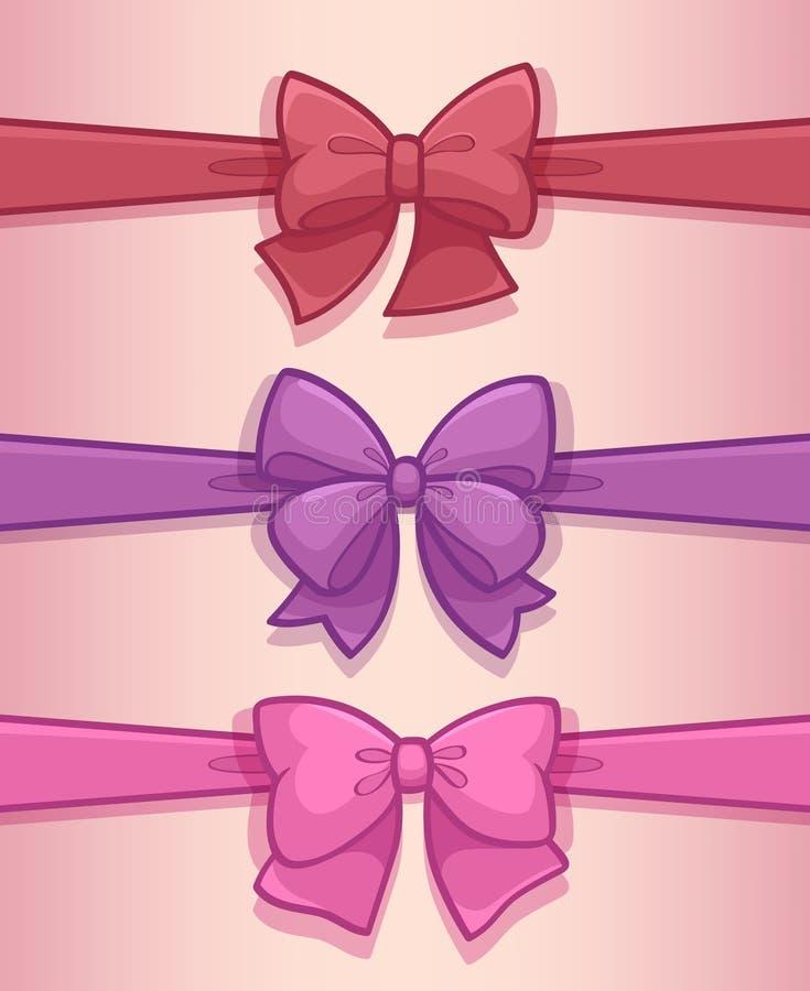Arcs de cadeau avec des rubans illustration stock
