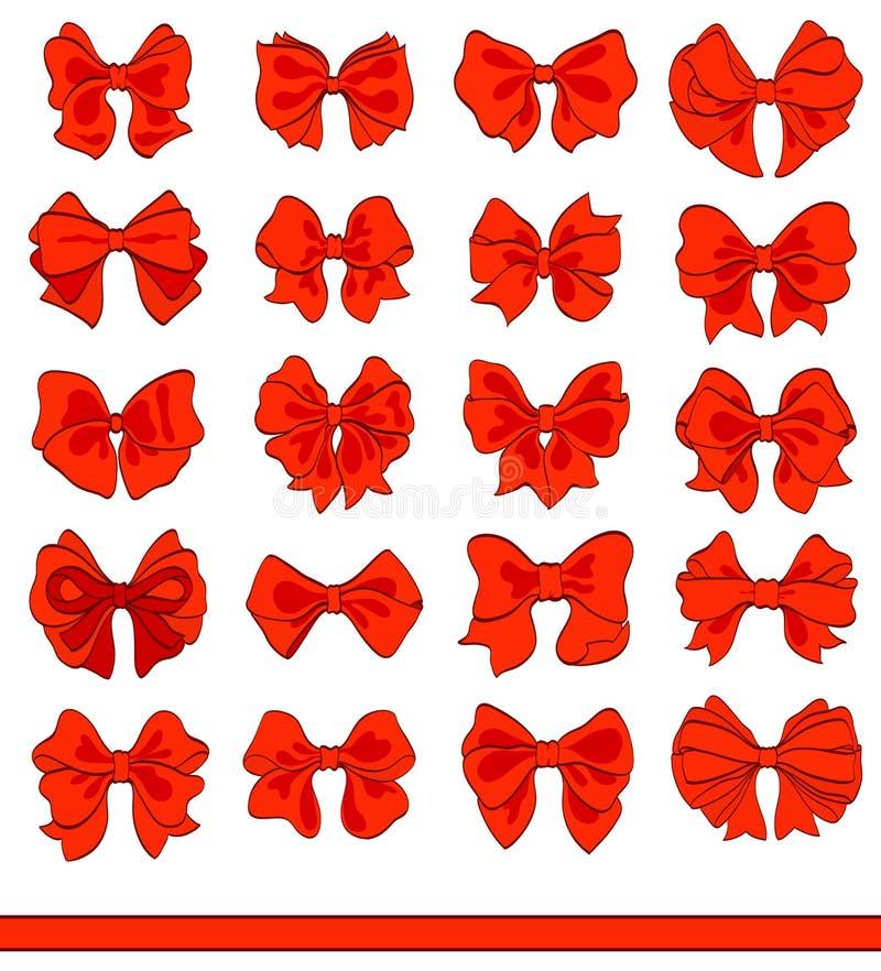 Arcs de rouge de bande dessinée réglés sur le blanc Éléments décoratifs de vecteur illustration stock