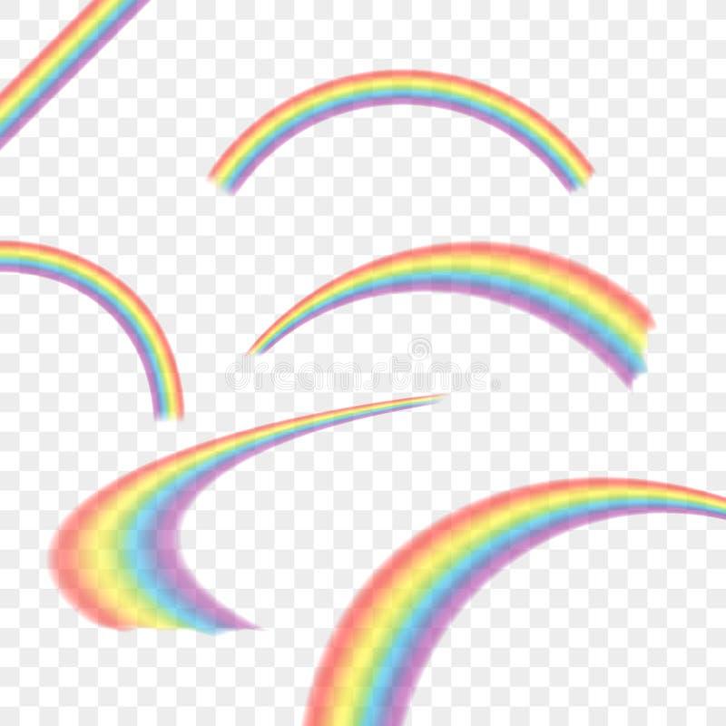 Arcs-en-ciel dans l'ensemble réaliste de forme différente sur transparent Illustration courante de vecteur illustration stock