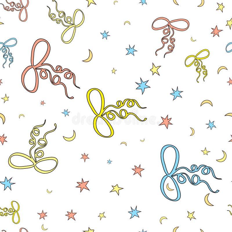 Arcs et étoiles, modèle sans couture de lunes Fond blanc Cartoo illustration libre de droits