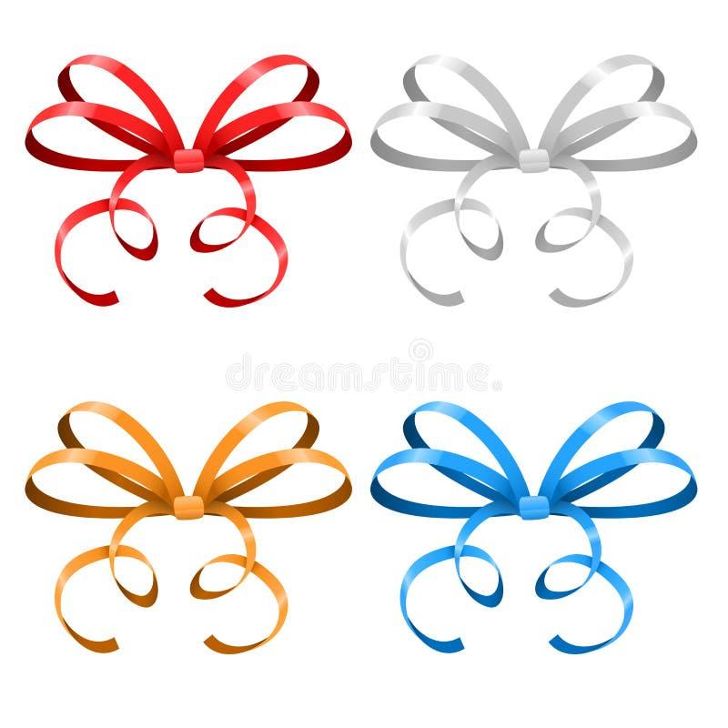 arcs Rubans colorés attachés minces illustration stock