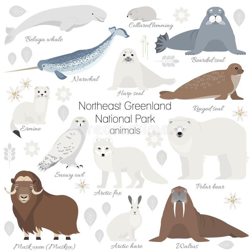 Arctic animal set. White polar bear, narwhal, whale, musk ox, seal, walrus, arctic fox, ermine, rabbit, arctic hare stock illustration
