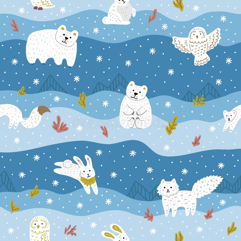 Arctic animals with white fur. Cute seamless pattern for kid`s clothes, fabric. Vector illustration royalty free stock images