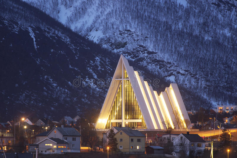 The arctic cathedral in Tromso. The beautiful, modern arctic cathedral in Tromso royalty free stock images