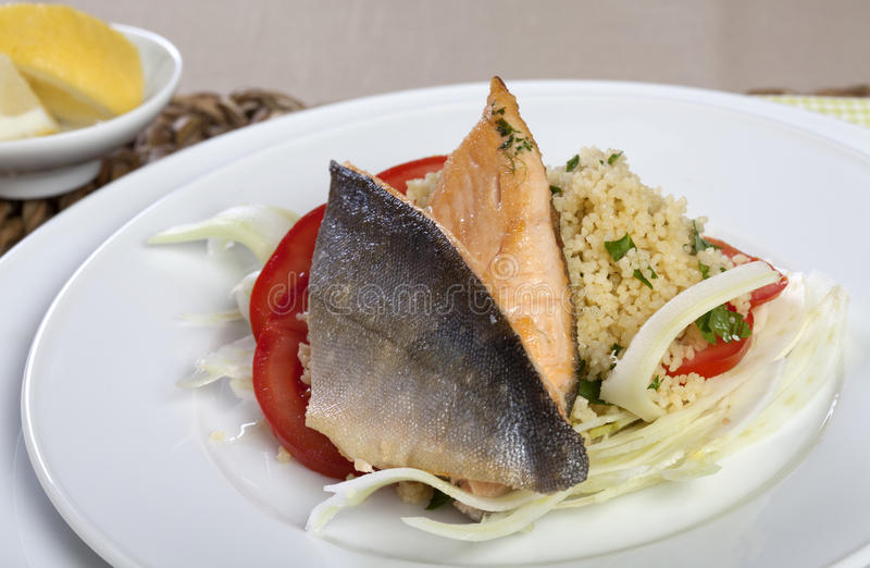 Download Arctic Char On Couscous And Fennel Stock Image - Image: 25512901