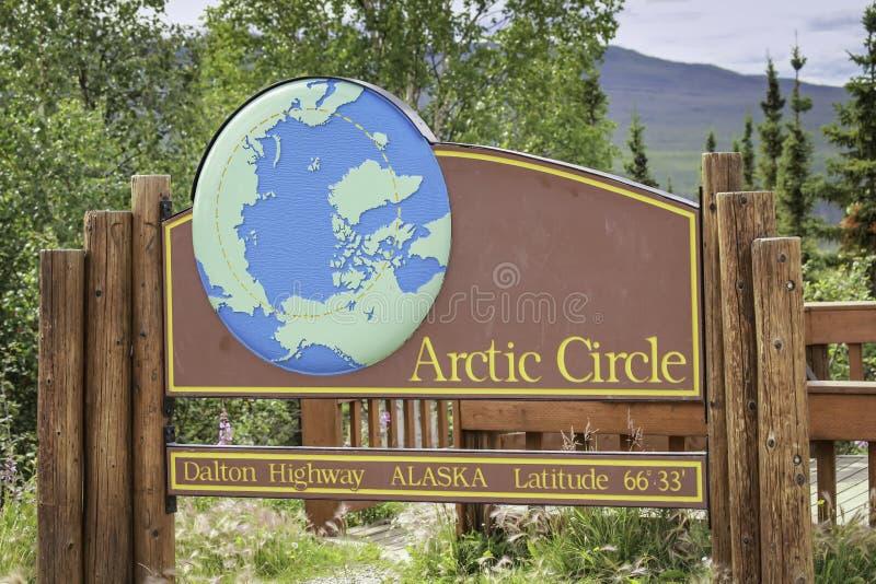 Arctic Circle road sign in Alaska stock image