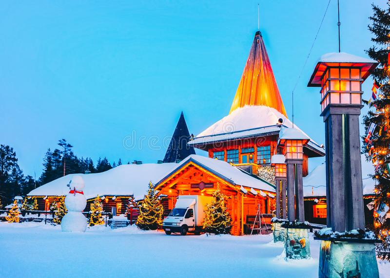Arctic Circle street lantern Santa Office at Santa Claus Village in Rovaniemi in Lapland in Finland stock photos