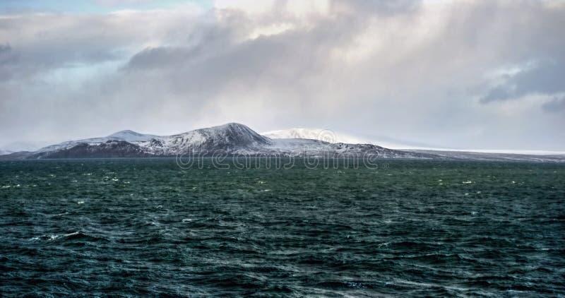 Arctic coast Bering sea. The stormy sky аrctic coast Bering sea, Russia, Aivazovsky style royalty free stock photography