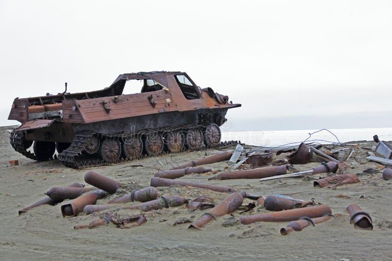 Arctic coast pollution stock image