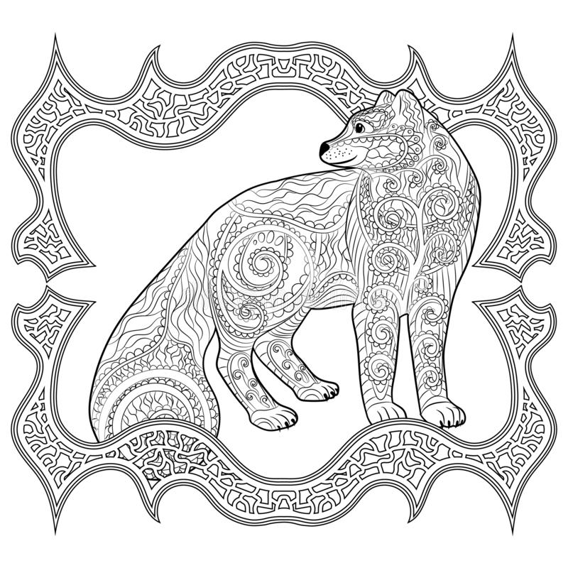 Arctic fox in the tracery style. stock illustration