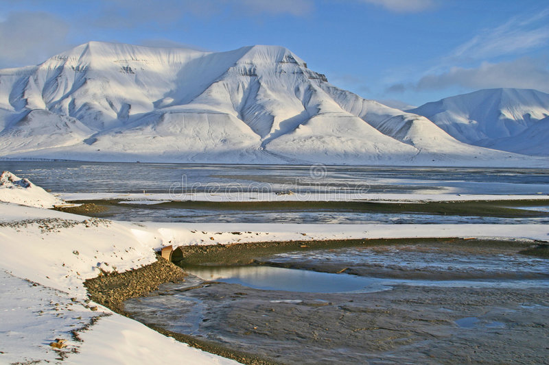 Arctic landscape. In winter on Svalbard islands, Norway stock image