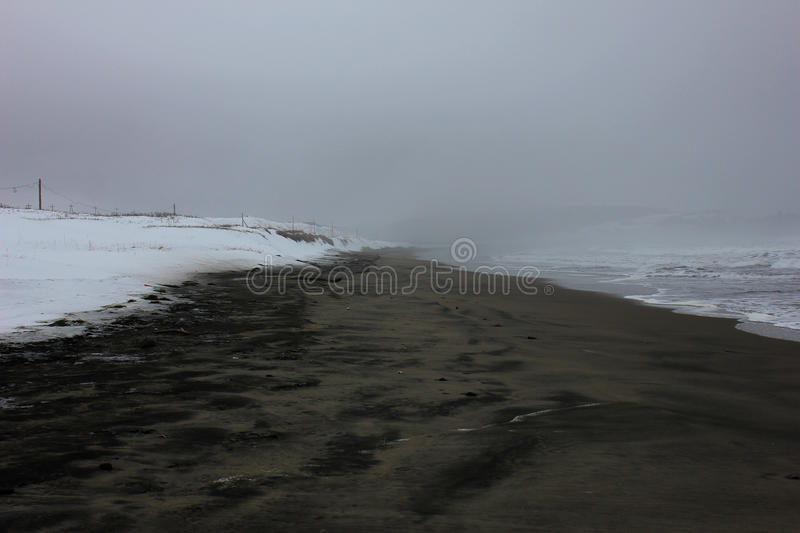 Arctic landscape. With black sand beach stock photos