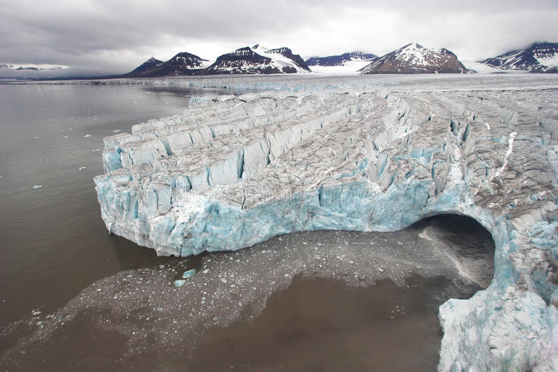 Arctic landscape - glaciers - global warming. Spitsbergen, Svalbard royalty free stock photography
