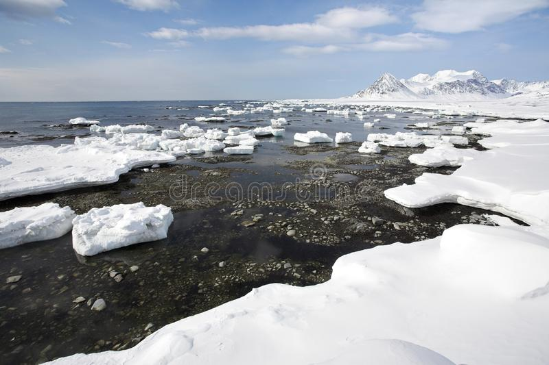 Arctic Landscape,ice On The Shore Stock Photo
