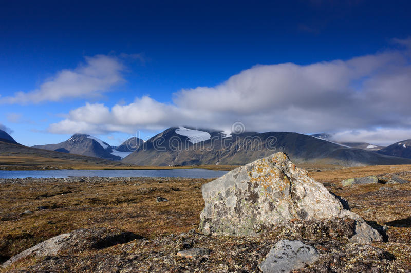 Arctic landscape. With rock's, mountains and a lake. Sarek, Sweden stock photography