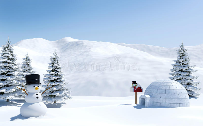 Arctic landscape, snow field with igloo and snowman in Christmas holiday, North pole. 3D rendering royalty free stock photos