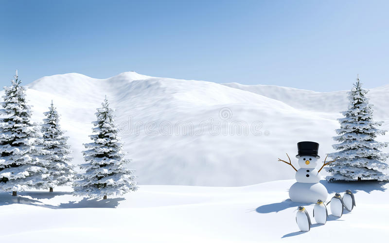 Arctic landscape, snow field with snowman and penguin birds in Christmas holiday, North pole stock photo