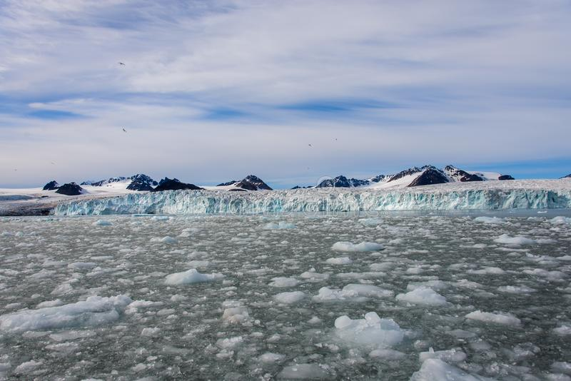 Arctic landscape in Svalbard with glacier in summer time. With sea and reflection royalty free stock image
