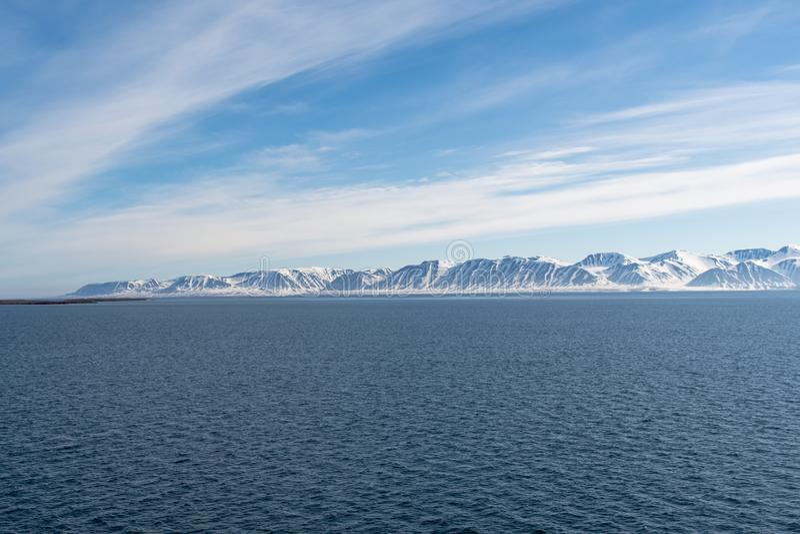 Arctic Landscape, Svalbard Island, Norway 2018 royalty free stock image