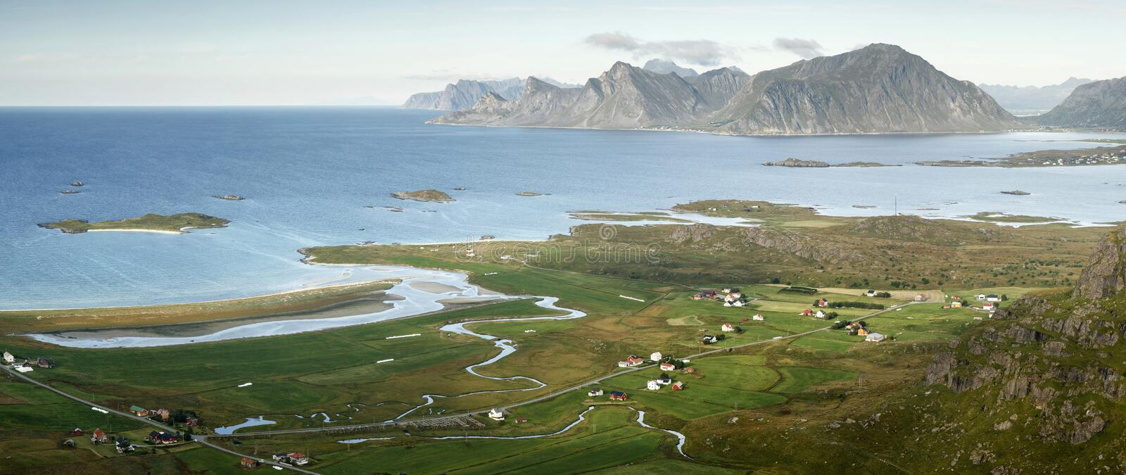 Arctic landscape- Yttersand, Lofoten Islands, Norway. Arctic landscape- Yttersand town and beach, Lofoten Islands, Norway stock photo