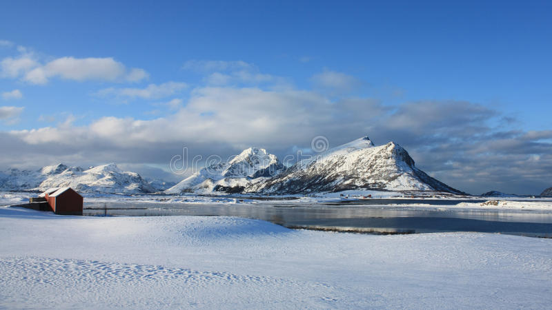 Arctic Lofoten. An arctic landscape of a fjord of Lofoten islands in wintertime stock photo