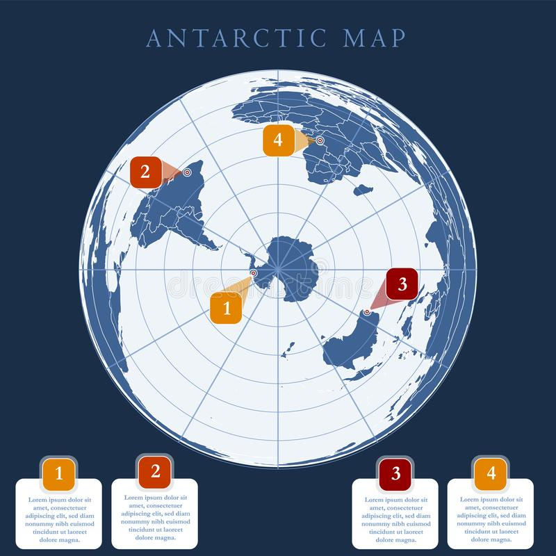 Arctic map with countries boundary, grid and label royalty free illustration