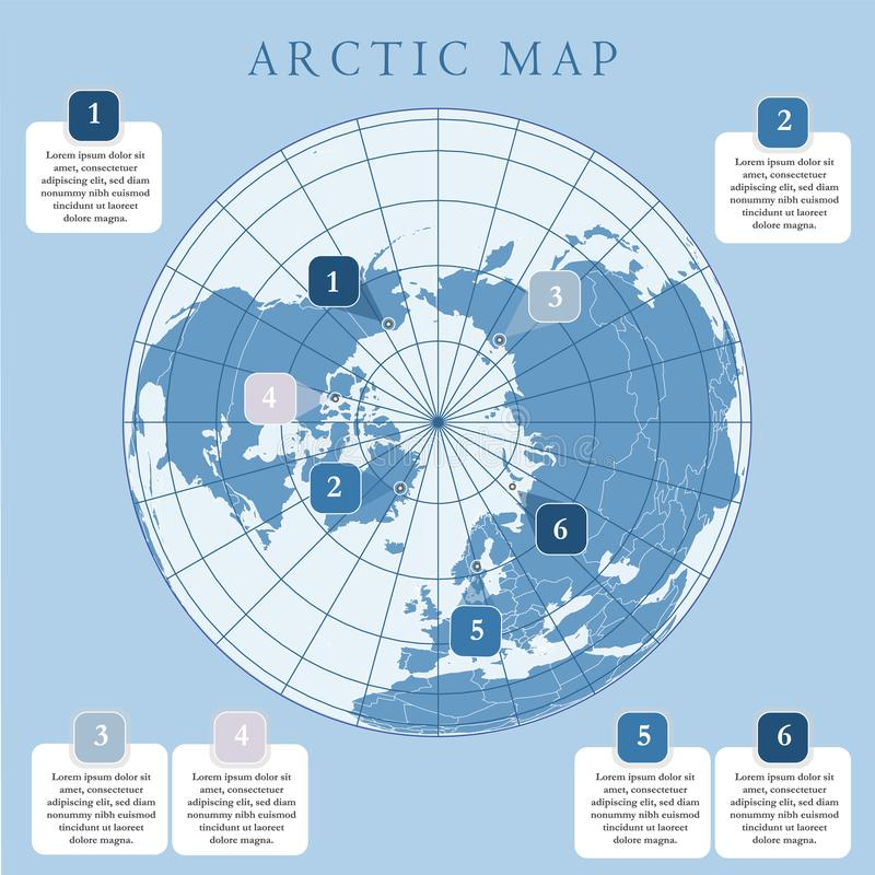 Arctic map with countries boundary, grid and label. Arctic regions of northern hemisphere. Circumpolar projection. Vector. Infogra. Phic. Blue background royalty free illustration