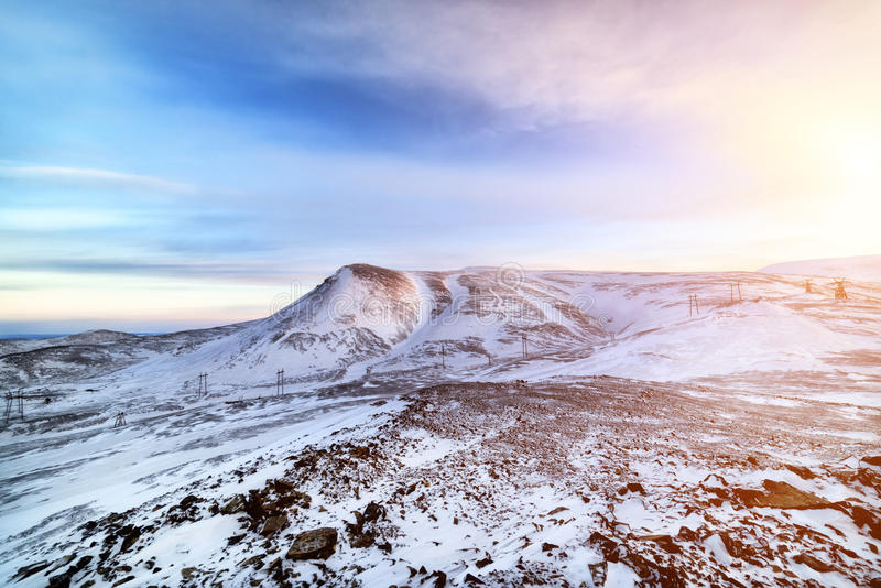 Arctic mountain landscape. The setting sun on mountains of the Taimyr peninsula stock photo