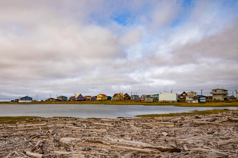 Arctic Ocean Inuvialuit town Tuktoyaktuk NWT CA. Hamlet of Tuktoyaktuk, a Inuvialuit community at the shore of Beaufort Sea or Arctic Ocean in Northwest royalty free stock photo