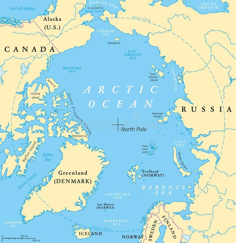 Arctic Ocean Map stock vector. Illustration of polar   104769384