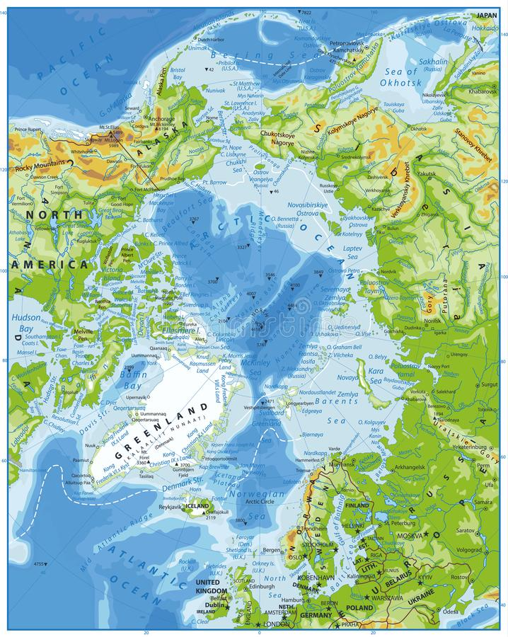 Arctic Ocean Physical Map stock vector Illustration of arctic