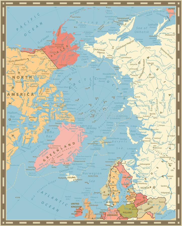 Arctic Ocean Political Map Vintage Colors Stock Vector